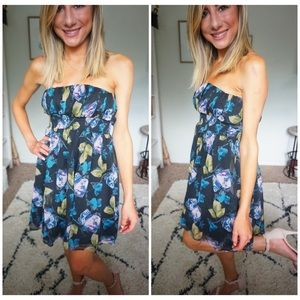 NWT KIMCHI BLUE SIZE SMALL FLORAL STRAPLESS DRESS